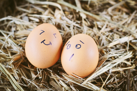 Painted  eggs about emotion on the face