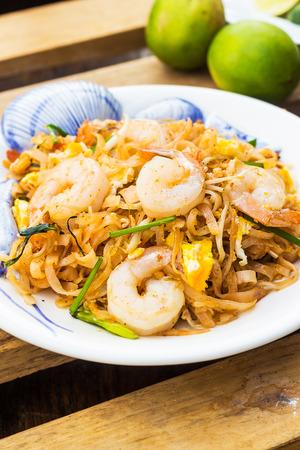padthai: Padthai Thai noodle style on wooden background