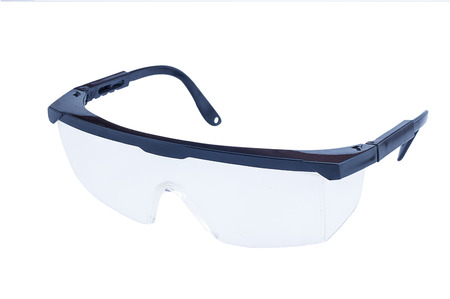 crystalline lens: Safety glasses isolated on a white background. Stock Photo