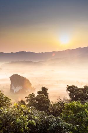 lang: Morning mist At Phu Lang Ka, Phayao, Thailand Stock Photo