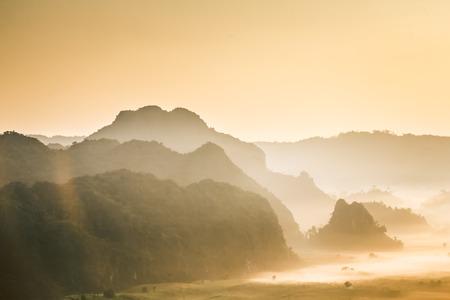 ka: Morning mist At Phu Lang Ka, Phayao, Thailand Stock Photo