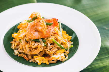 quick snack: Pad Thai with Shrimps , Thai Food Stock Photo