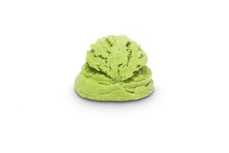 eis: Scoop of pistachio ice cream isolated on white background