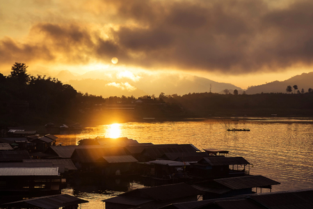 sangkhla buri: The lake at morning fog in Sangkhla Buri, Thailand Stock Photo