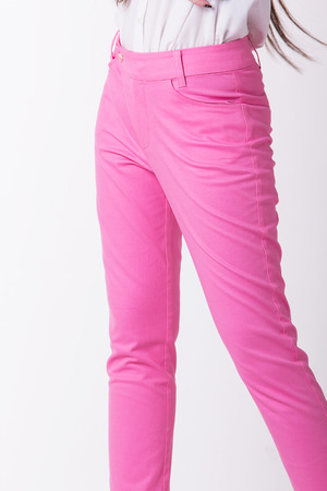Pink women trousers,Focus on trousers. Stock Photo