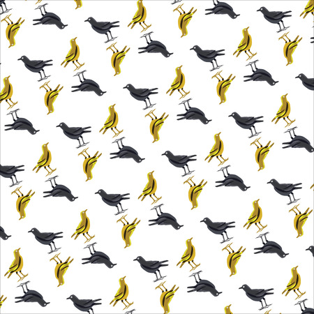 tileable: Elegant seamless pattern with abstract crow symbols, design elements. Can be used for invitations, greeting cards, scrapbooking, print, gift wrap, manufacturing. Bird theme