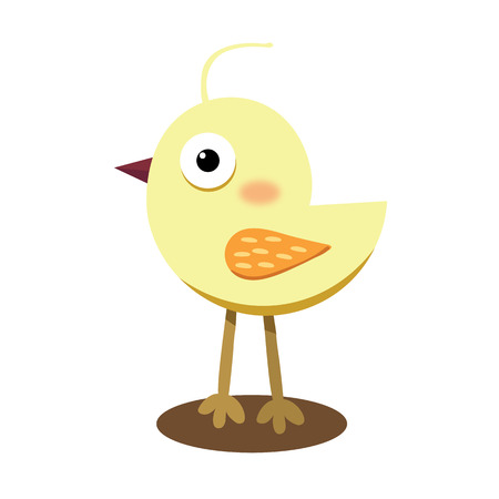 ornithological: Llittle cute yellow chick vector color flat icon