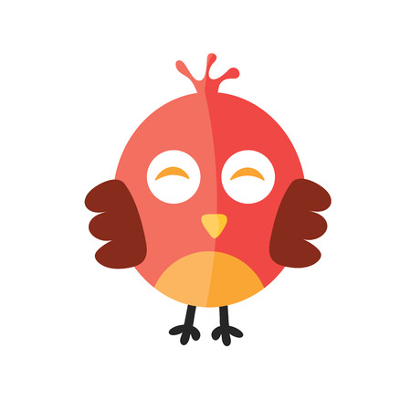 ornithological: Llittle cute red chick vector color flat icon.