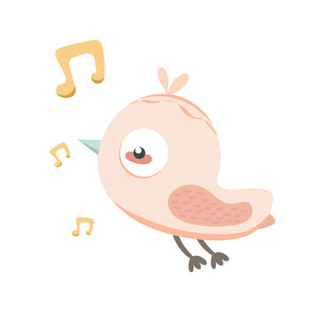 singing bird: Singing bird in pastel colors.
