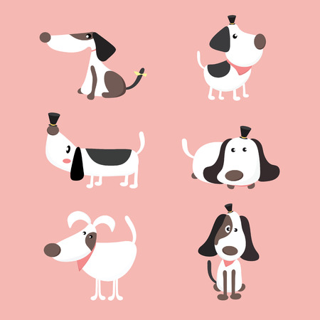 beagle terrier: Cute dogs set. vector collection of puppies