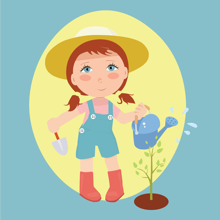 Illustration of girl watering plants on pastel background.