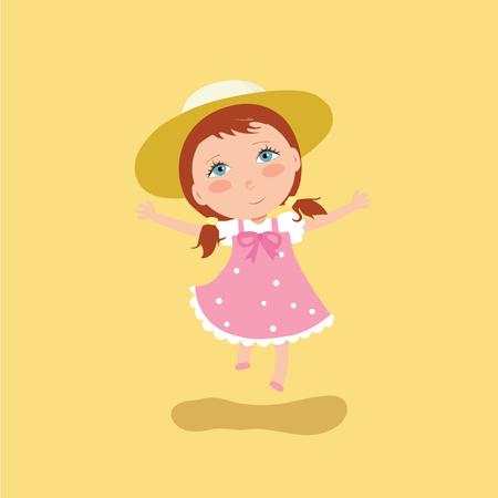 Happy girl jumping. Illustration