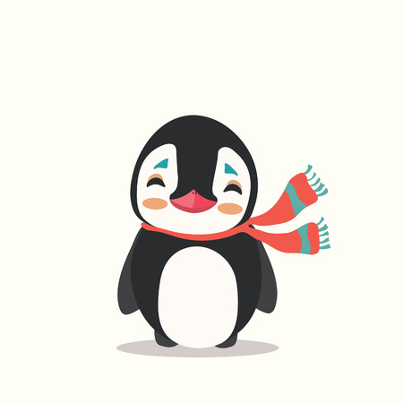 Vector icon illustration of a cute cartoon penguin with scarf isolated. Illustration