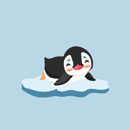 berg: A cute little penguin on a bit of ice.