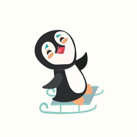fiambres: pingüinos bonita del bebé en un trineo Vectores