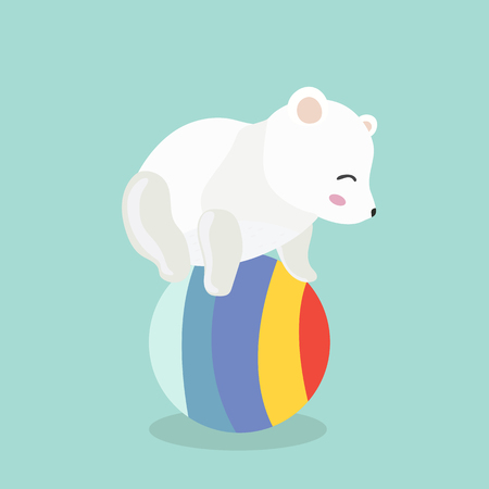 beg: Polar Bear Playing Ball. Illustration