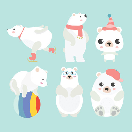 Cute cartoon polar bear in different poses. Illustration