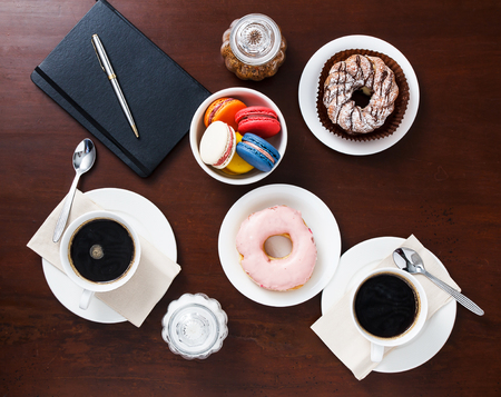 dough nut: Coffee with dessert on the table,top view. Stock Photo