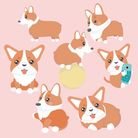Cute welsh corgi dog characters set.