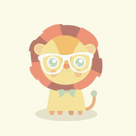 cute lion cartoon, king of the jungle, T-shirt design vector illustration Illustration