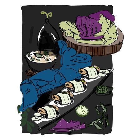 flagstone: Spare Ribs(Sushi).Illustration Illustration