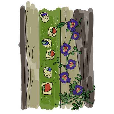 banana leaf food: Spring Rolls With Flowers and  Leaf-Wrapped.Illustration