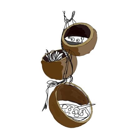 Thai desert in coconut shell.Illustration Illustration