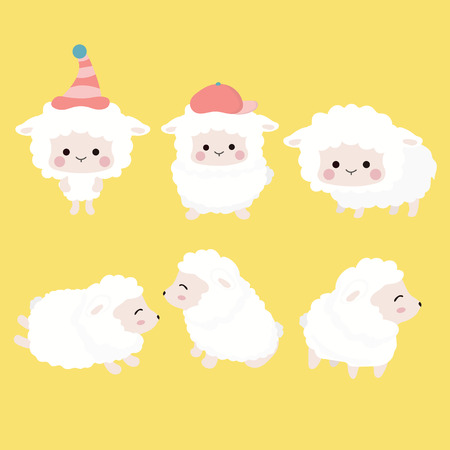 Cute cartoon sheep set.
