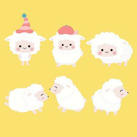Cute cartoon sheep set.