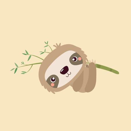 oso perezoso: Cartoon illustration funny and cute sloth. Vectores