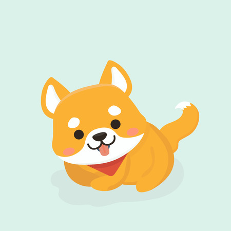 Vector illustration of cute Shiba Inu dog.  イラスト・ベクター素材
