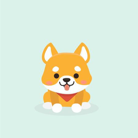 Vector illustration of cute Shiba Inu dog. Illustration