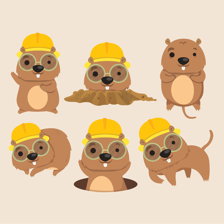 Cute Mole Poses Cartoon Vector Illustration.