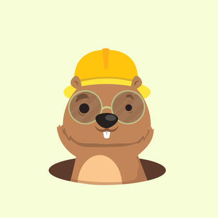 Cute happy smiling mole character. Illustration