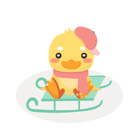 Cartoon baby duck on white background. Illustration