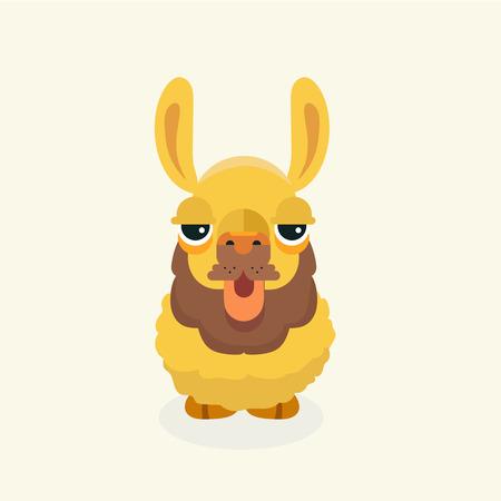 kiddie: Vector cute llama or alpaca illustration. Funny animal. Illustration