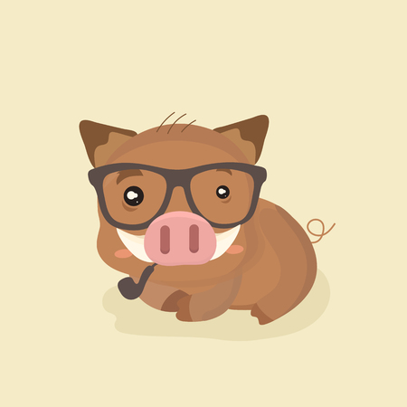 Cute Cartoon Wild Boar. Funny Vector Animal.