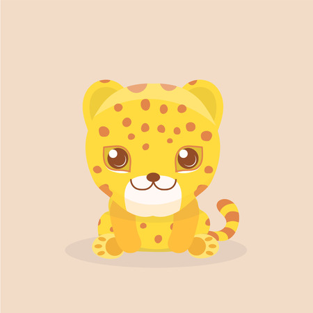 cheetah cub: Cute Leopard Cheetah Vector Illustration.