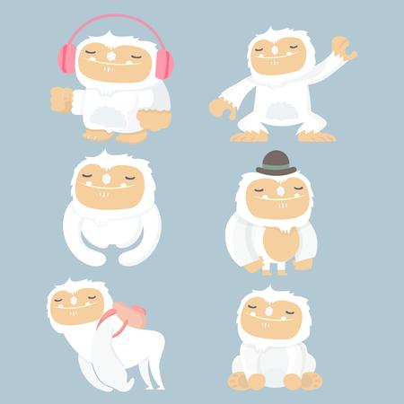 Yeti cartoon set illustration design. Stock Illustratie