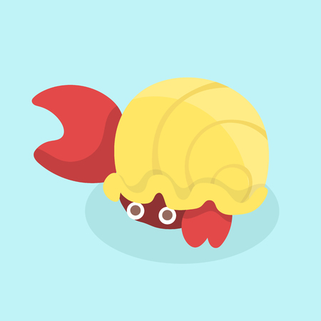 Cartoon hermit crab. Vector illustration.