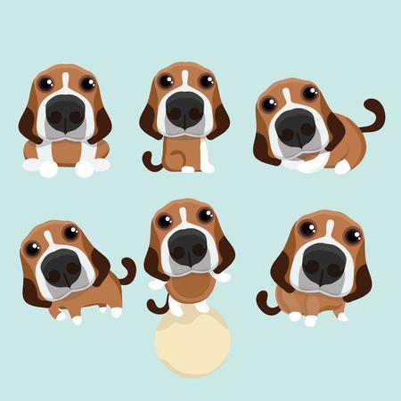 만화 행복 비글 강아지입니다. 일러스트