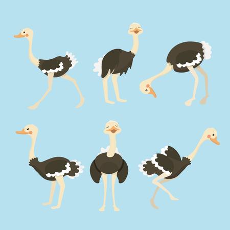 Cute ostrich cartoon collection set. Çizim