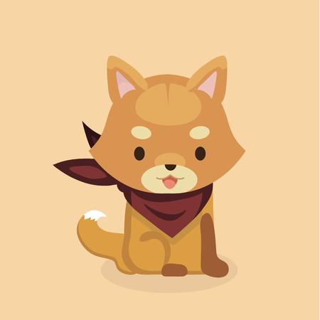 かわいい柴犬犬のベクター イラストです。