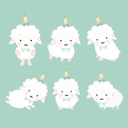 lay: Cute cartoon sheep set.