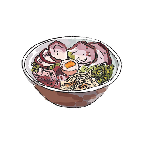 Ramen bowl noodles vector on white background.