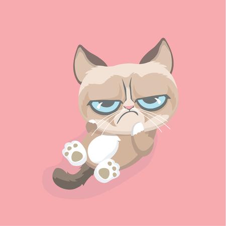 Cute grumpy cat. Vector Illustration. 向量圖像