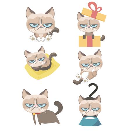 Funny vector set of grumpy cat.