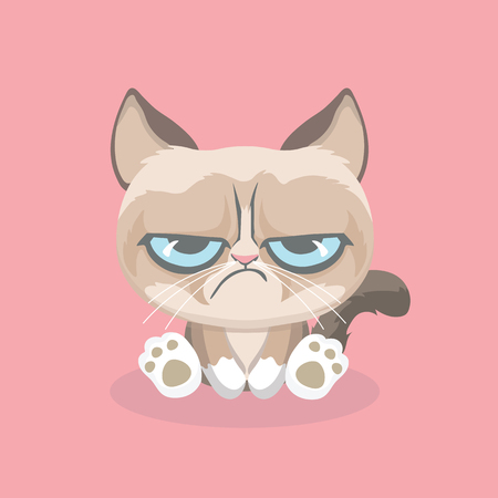 Cute grumpy cat. Vector Illustration. Çizim