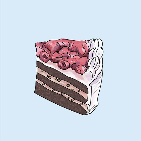 Slice of cake isolated.