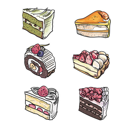 Colorful sweet cakes slices pieces set vector illustration. Illustration